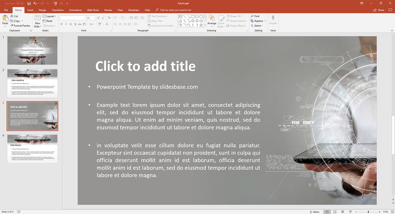 Футуристическая-технология голограмма-UI-дизайн-тек-круг-PowerPoint-РРТ-шаблон скачать