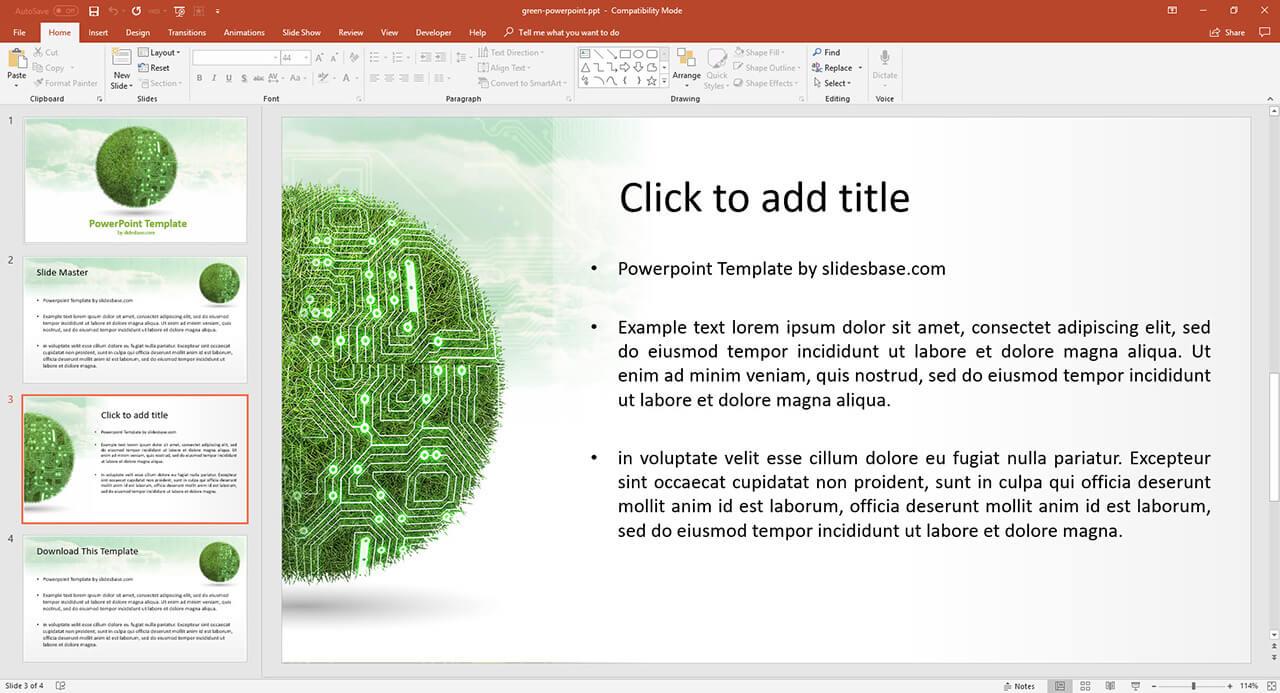 3D-綠色技術革命,綠色科技,可再生能源草-3D-球呈現,PowerPoint演示模板