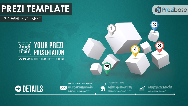 3d white cubes prezi presentation template creatoz collection