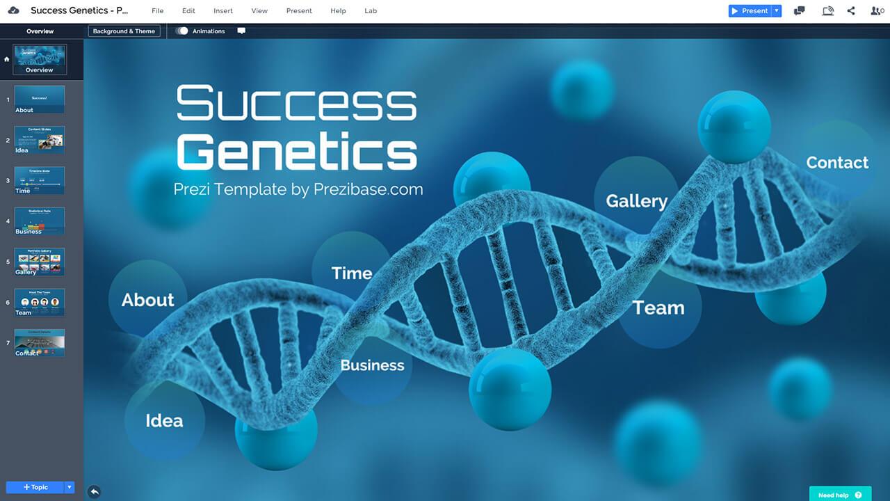 Успех-генетика ДНК-биолого-синий бизнес-презентация-шаблон-для-Prezi-и-PowerPoint