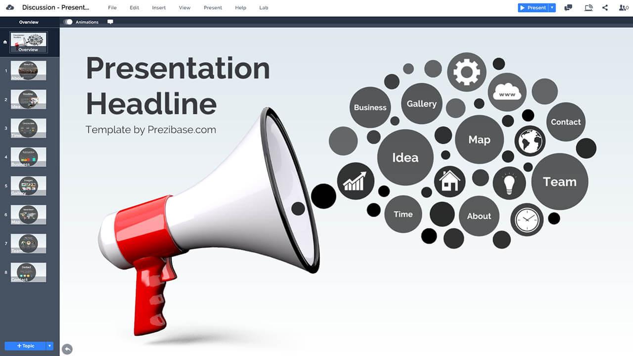 маркетинг-мегафон-мегафон-реклама-сообщение-Prezi-презентация-шаблон