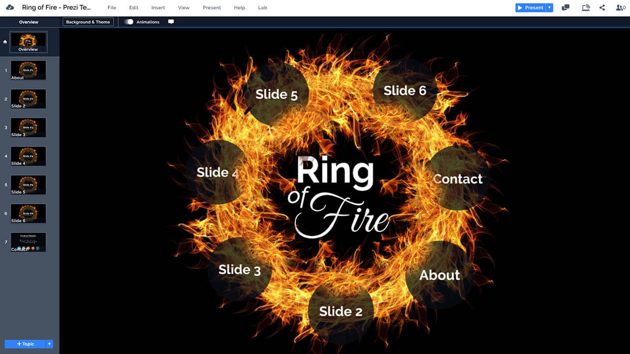 кольцо из огня-пламени-Prezi-презентация-шаблон