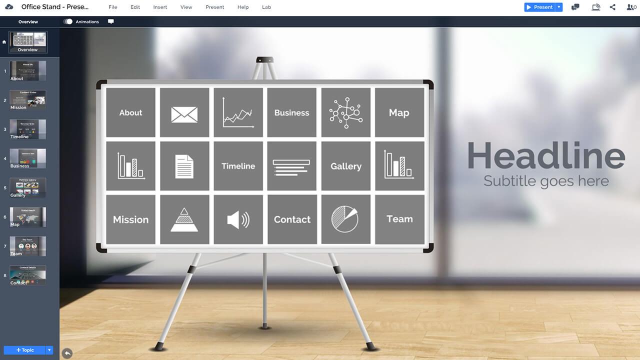 company-business-office-leg-stand-whiteboard-prezi-presentation-template