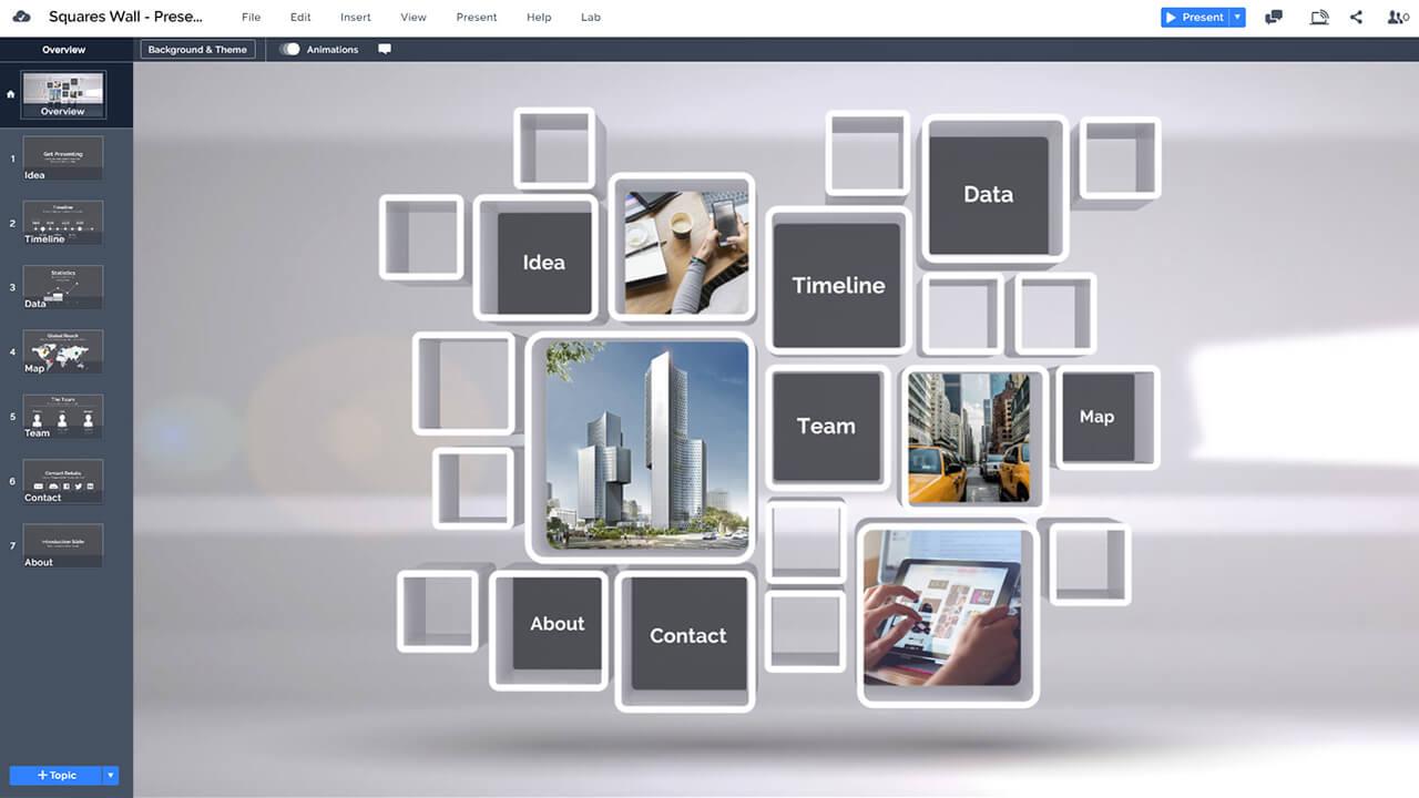 3d-стена-контент-структура-профессионально-прямоугольники дизайн-Prezi-презентация-шаблон