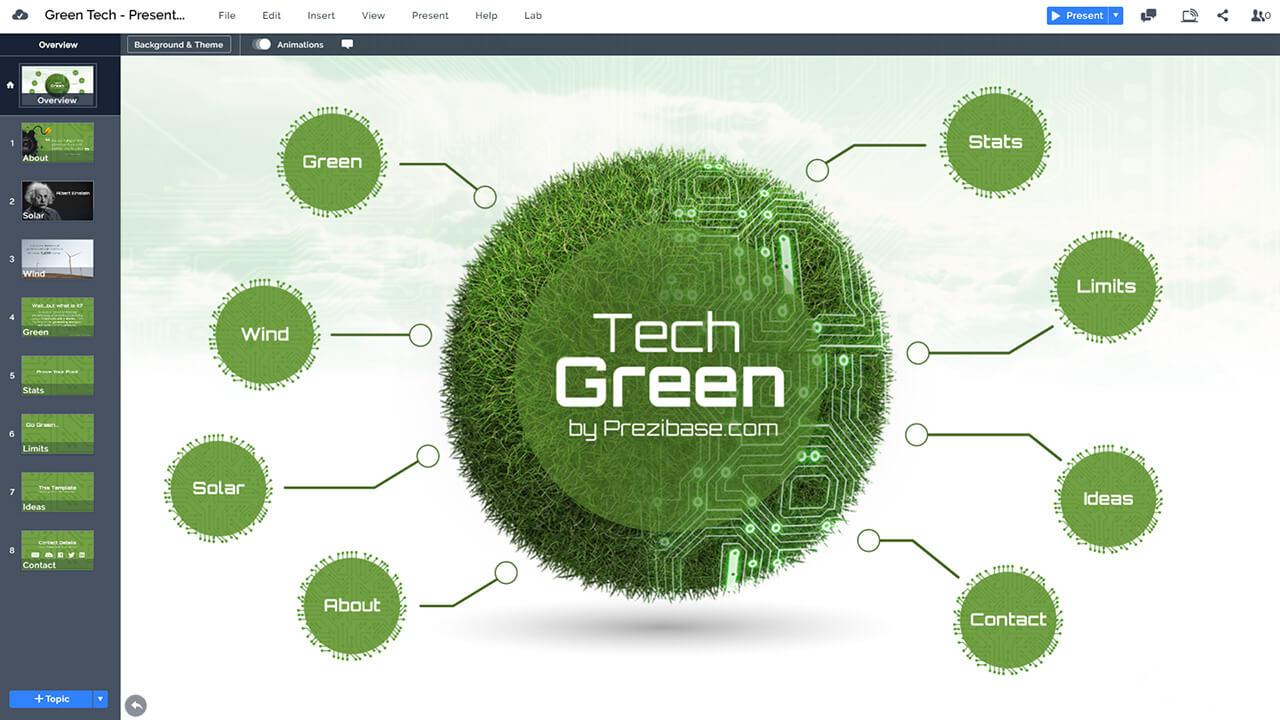 зелено-технология сфера возобновляемых-энергетические источники, творческо-Prezi-презентация-шаблон