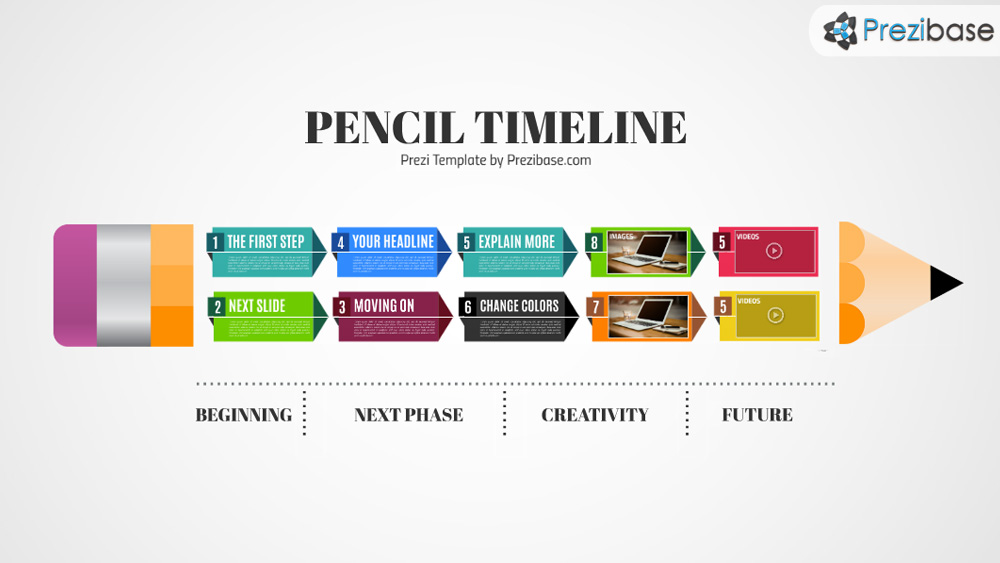 pencil timeline prezi presentation template