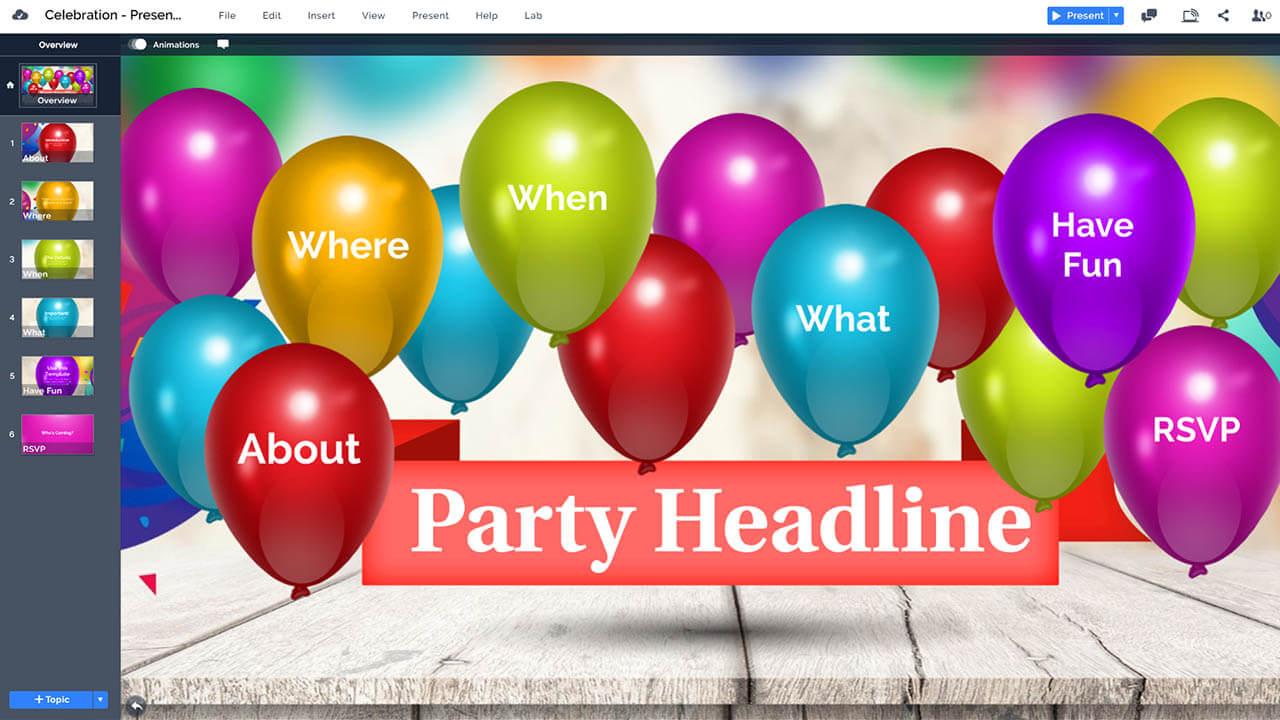 праздник-день рождения-участник шары этап-Prezi-презентация-шаблон