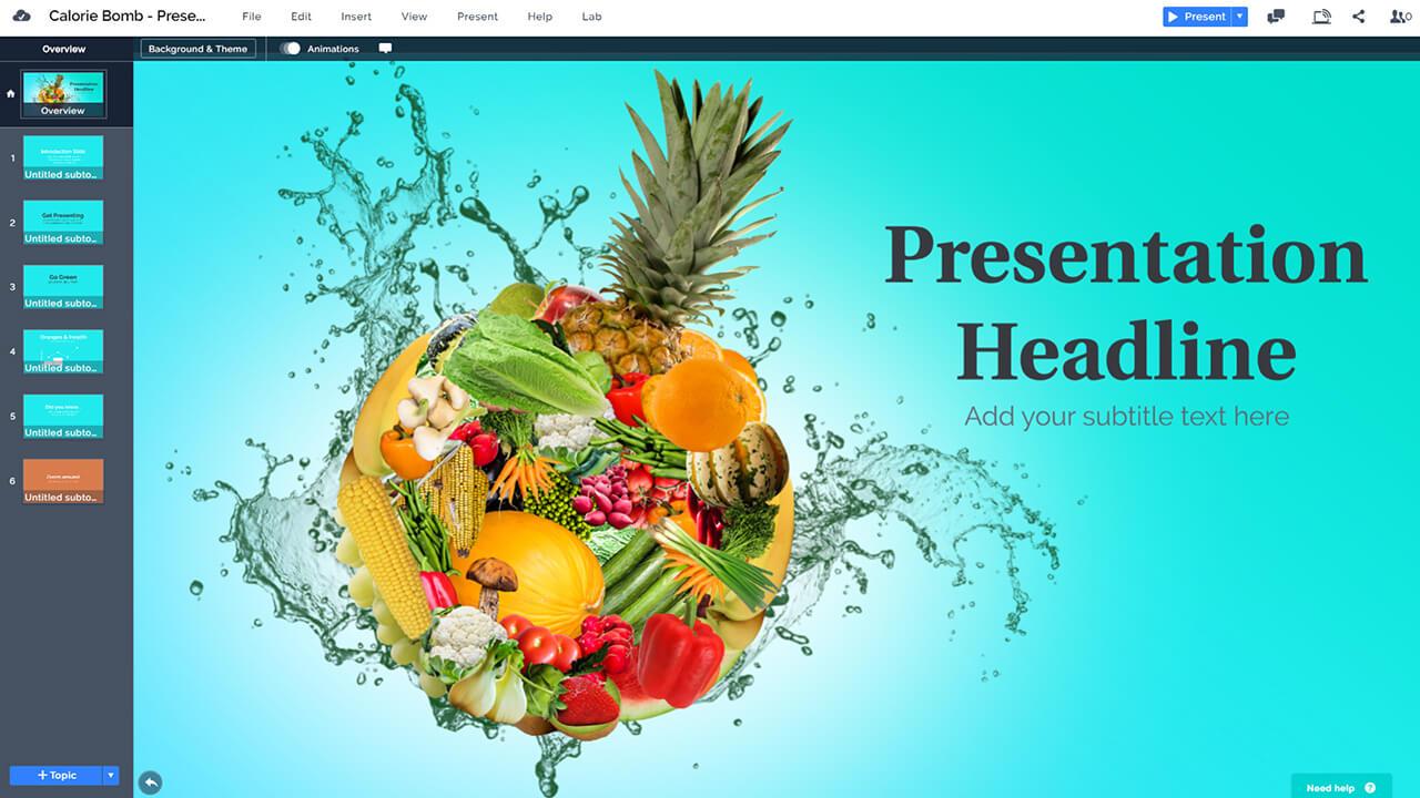 продукты питания и диета калорийность-бомба-фрукты-овощи-презентация-шаблон-для-Prezi-PowerPoint