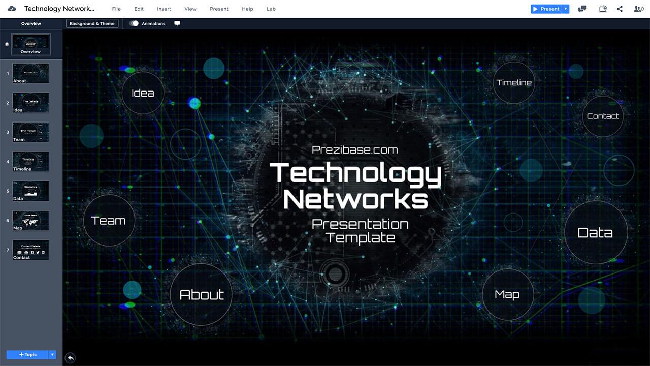 технологии сеть сине-привет-тек-фон-презентационный-PPT PowerPoint-и-Prezi-шаблон