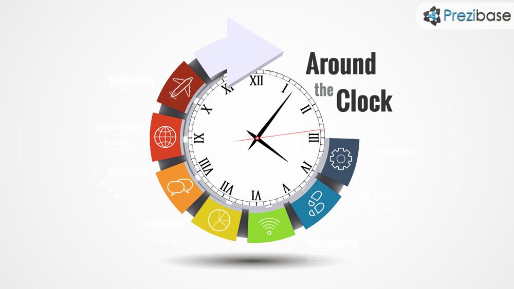 Clock Templates | Around The Clock Prezi Presentation Template Creatoz Collection