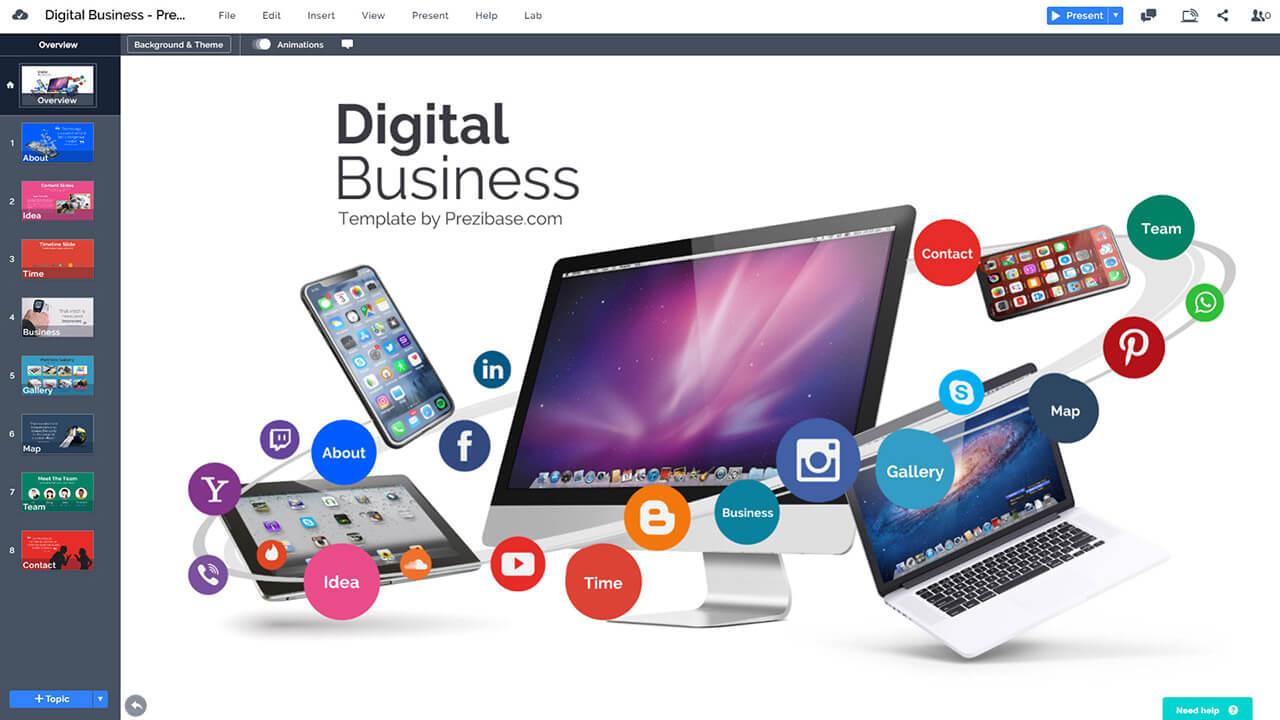 數字企業技術響應蘋果的設備,社交媒體,互聯網營銷,演示模板