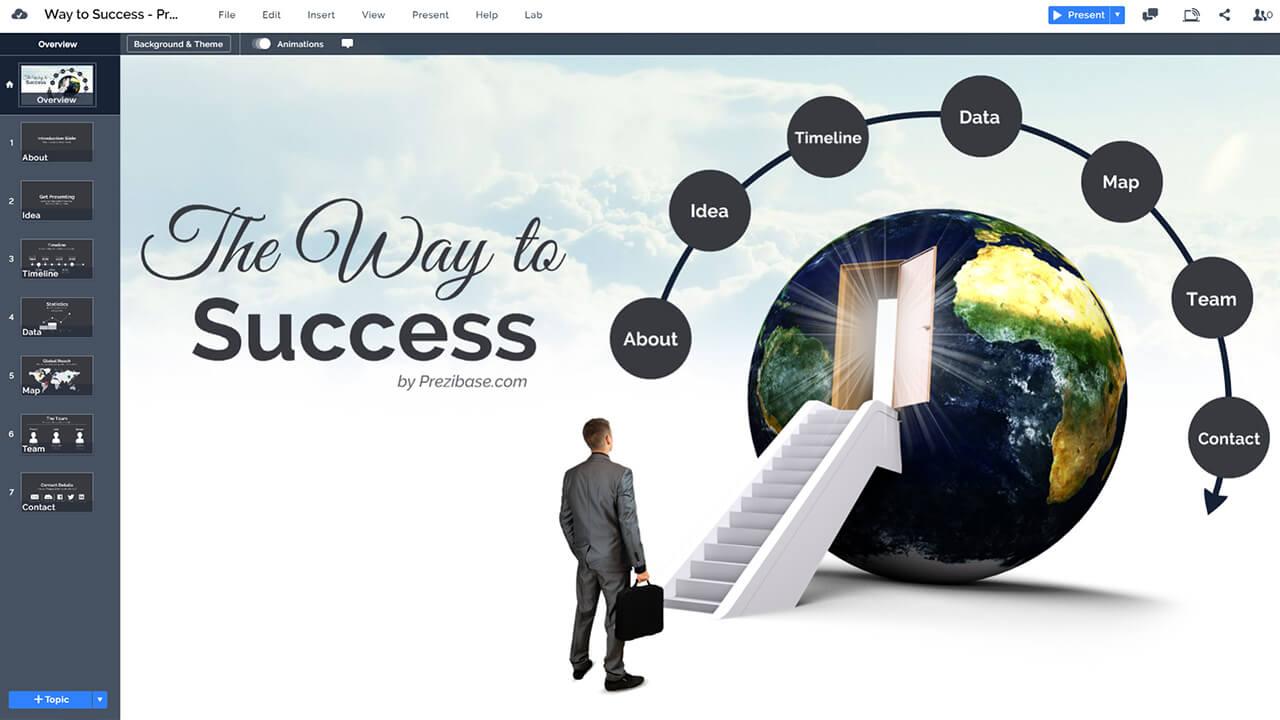 3d-escalator-to-world-door-success-businessman-career-ladders-stairs-prezi-presentation-template