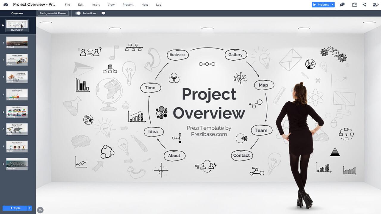 предприниматель-компания-проект-обзор-план-эскиз-идея-на-стены-презентация-шаблон-Prezi