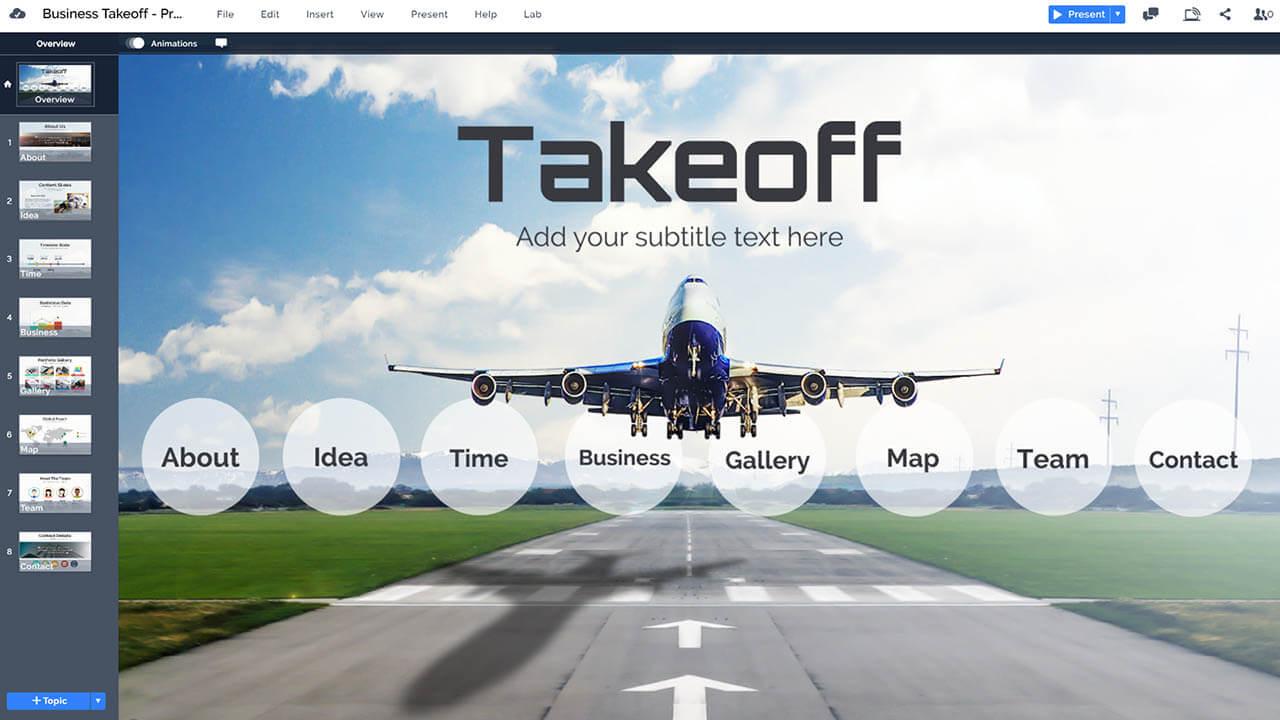 авиация бизнес-самолет взлет-на-посадочная полоса-аэропорт-тревел-Prezi-презентация-шаблон