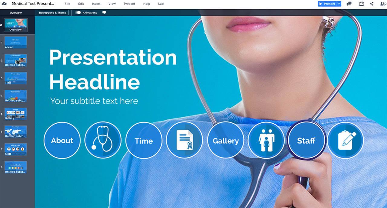 лечебно-обследование тест-медсестра-врач-сине-медицинского-Prezi-презентация-шаблон
