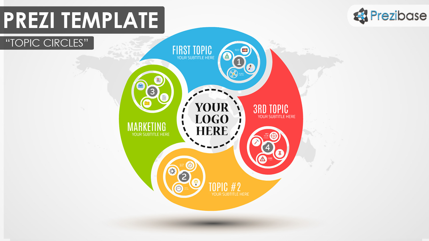 prezi template library - topic circles prezi presentation template creatoz