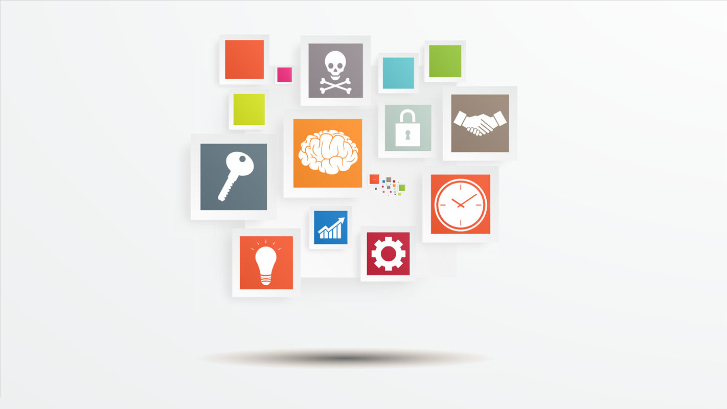 Colorful D Squares on grey background Prezi template