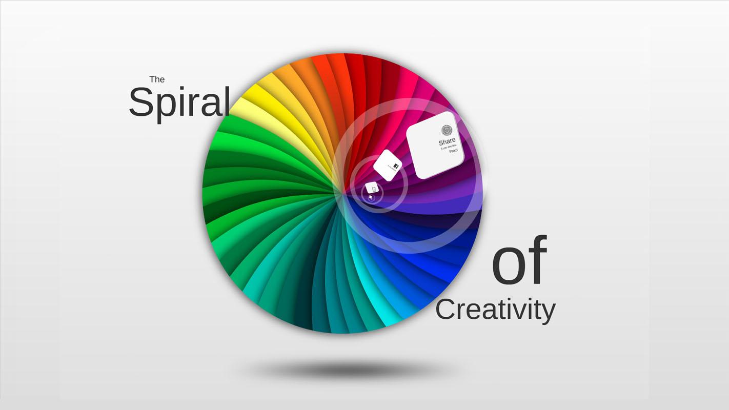 Colorful Prezi template with D creative spiral