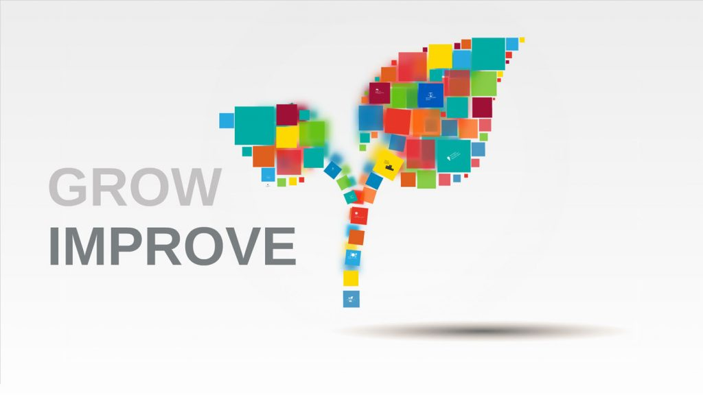 Grow Improve Prezi template with plant and colorful rectangles