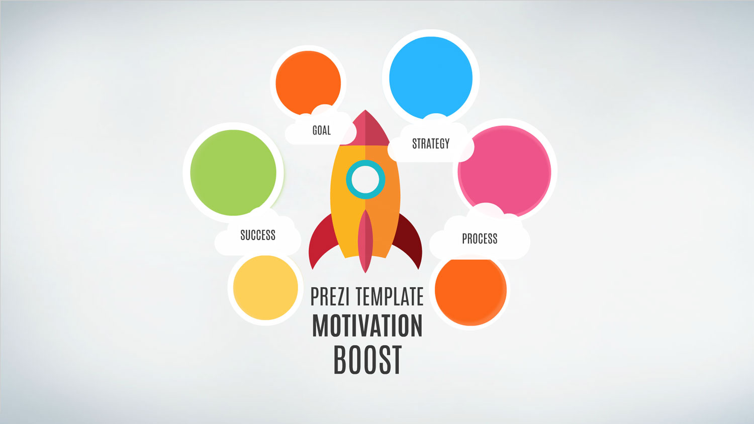 Motivation Prezi Template with a rocket boosts into space on the Prezi D background