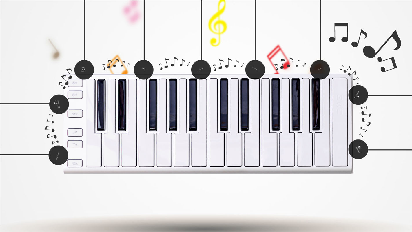 Piano Keyboard with Black and White Keys and Colorful Music Notes
