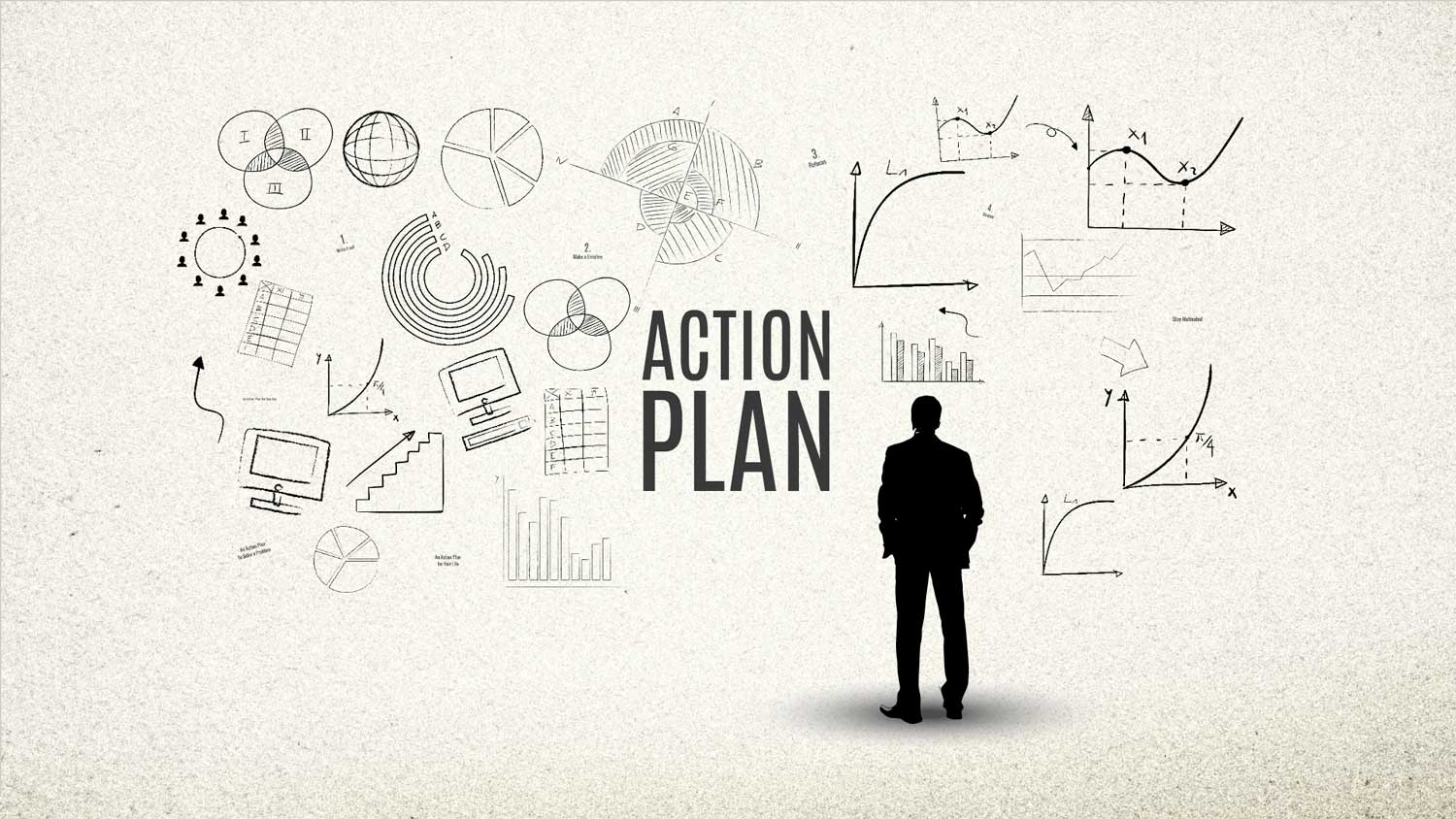 Prezi Template A Businessman Is Looking At The Business Sketches On Wall For Making An