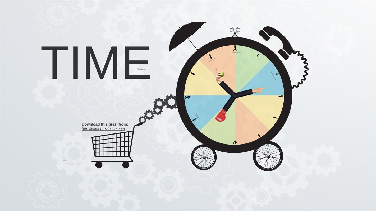 Time management template with alarm clock