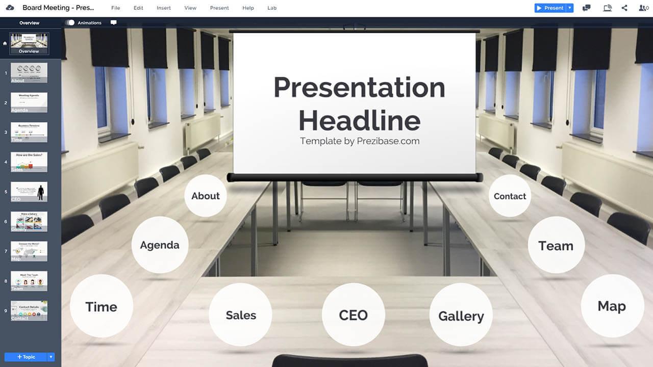 Компания доска комната-совещание-стол-проектор-дисплей-Prezi-презентация-шаблон