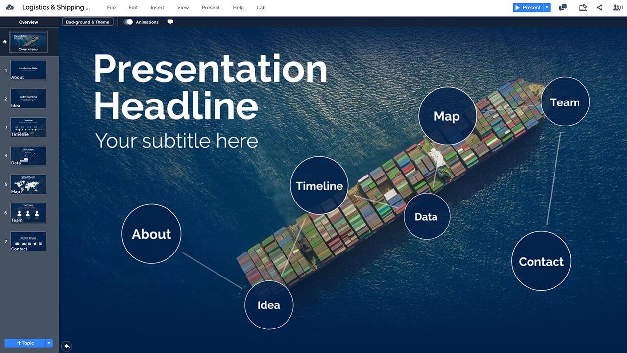 доставка-контейнер-корабль-на-моря-торговые войны-презентационные шаблоны Prezi-PowerPoint-п.п.