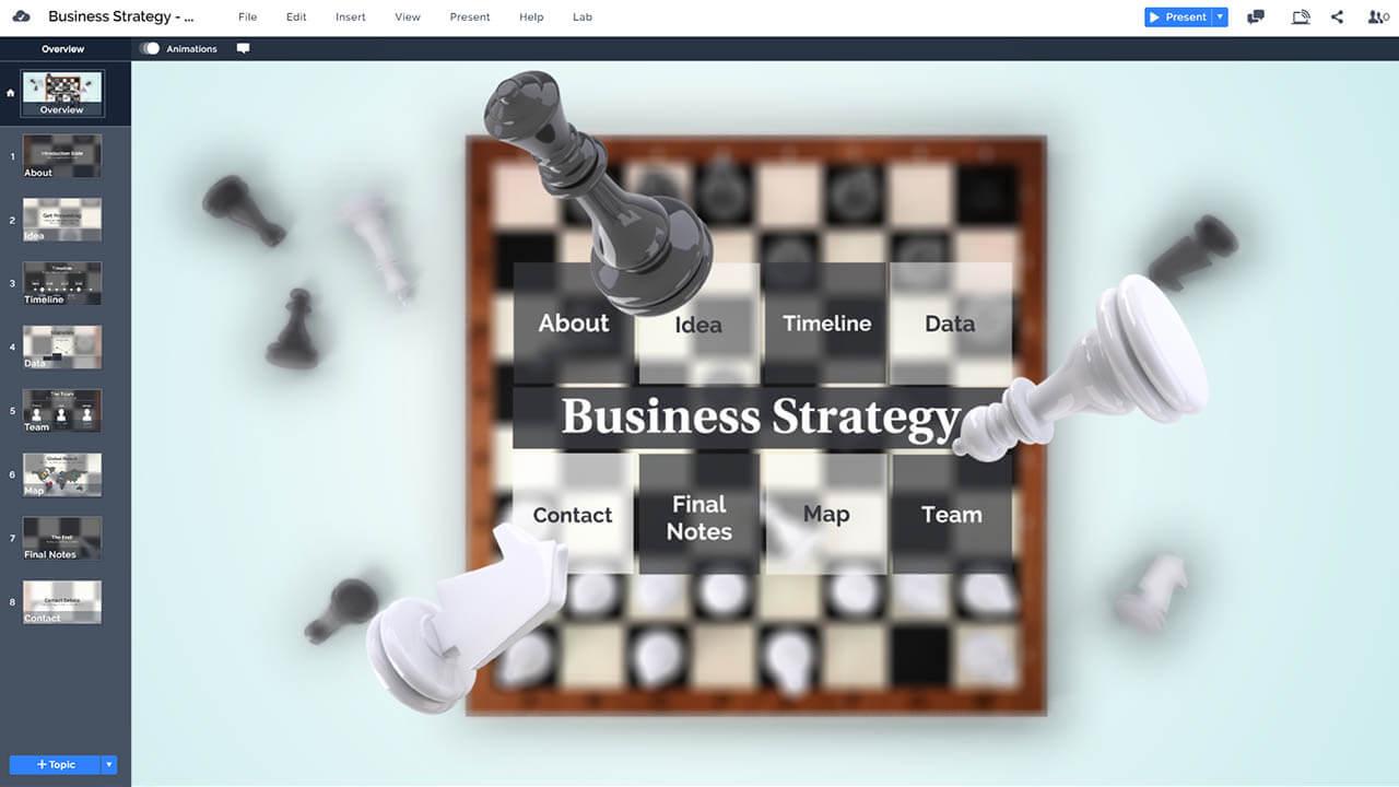 бизнес-шахматы 3d-игры-стратегия-шахматная доска части летящего-Prezi-презентация-шаблон
