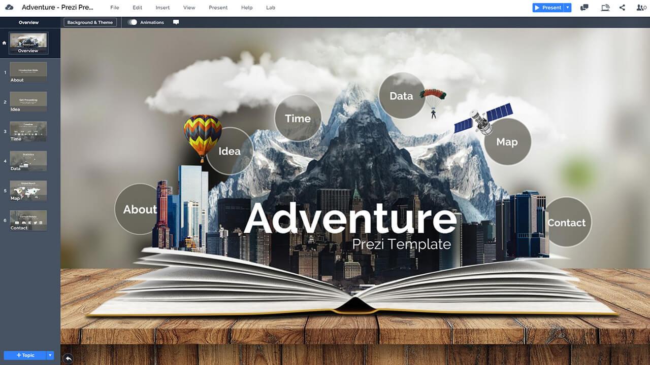 3d-adventure-book-literature-creative-education-presentation-template-for-prezi