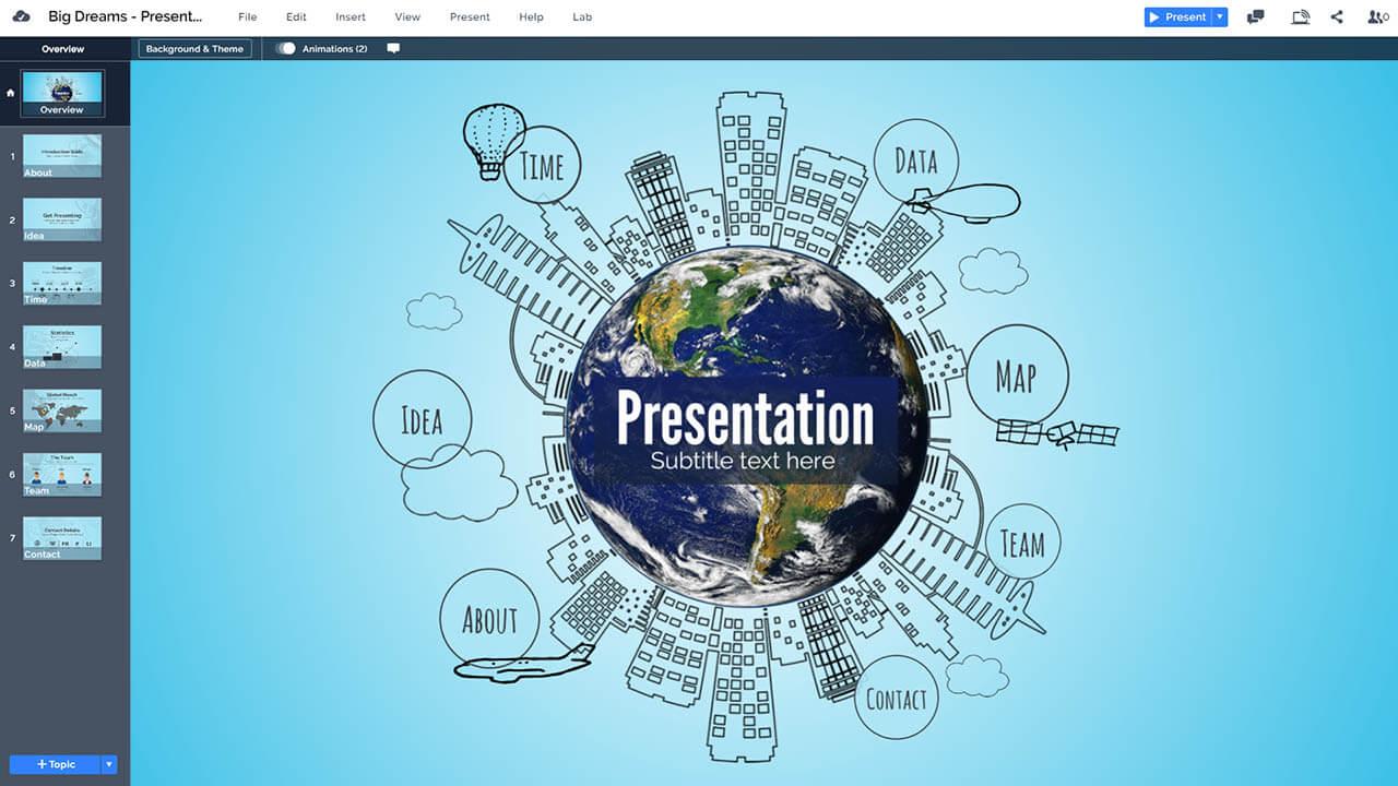 Идея-город-городская планета-рисованная-город-глобальный Prezi-презентация-шаблон