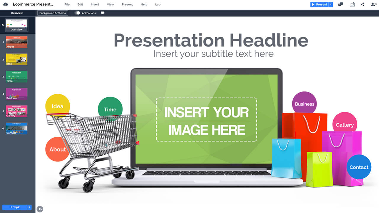 электронная коммерция-онлайн-покупка-3d-подарочные мешки-на-ноутбука-PowerPoint-презентация-Prezi-шаблон