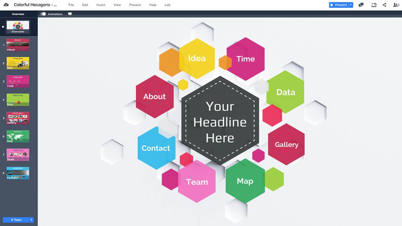 красочный-шестиугольник улей-дизайн-Prezi-презентация-шаблоны для дизайна портфолио