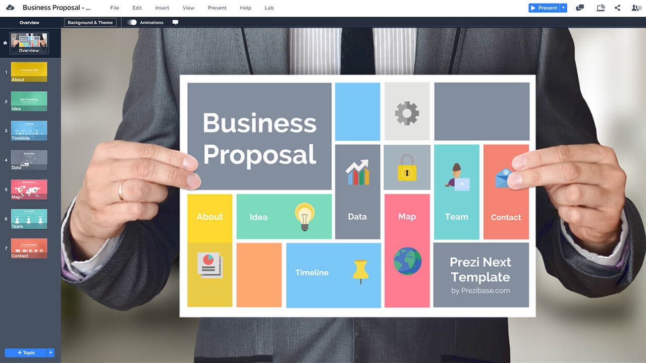 businessman-hold-sign-business-proposal-prezi-template-for-presentation