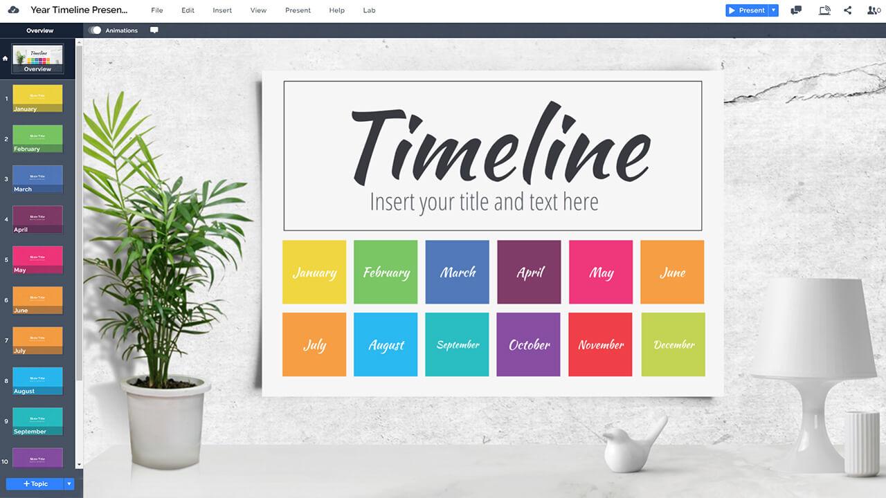 красочный-годовой-летний график-Prezi-презентация-шаблон-календарь-на-стен