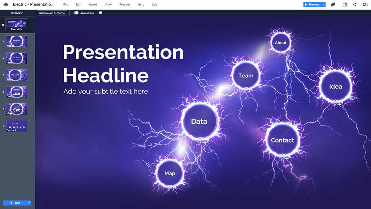 электродуговой гром и молния-Prezi-презентация-шаблон