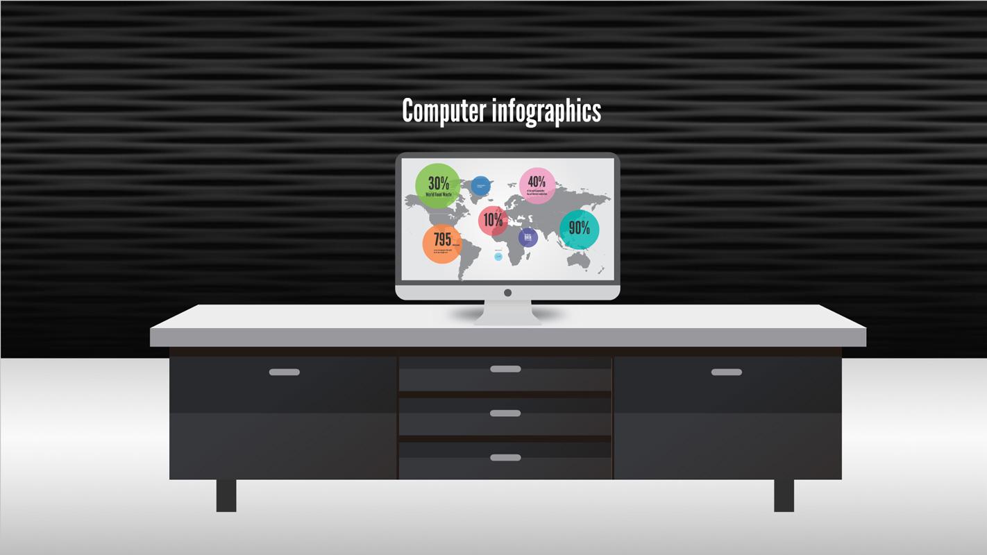 computer infographics on a table