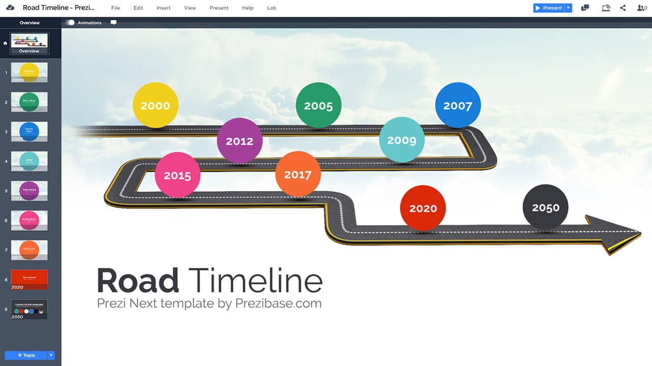 curved-road-timeline-milestones-colorful-sky-background-timeline-prezi-presentation-template