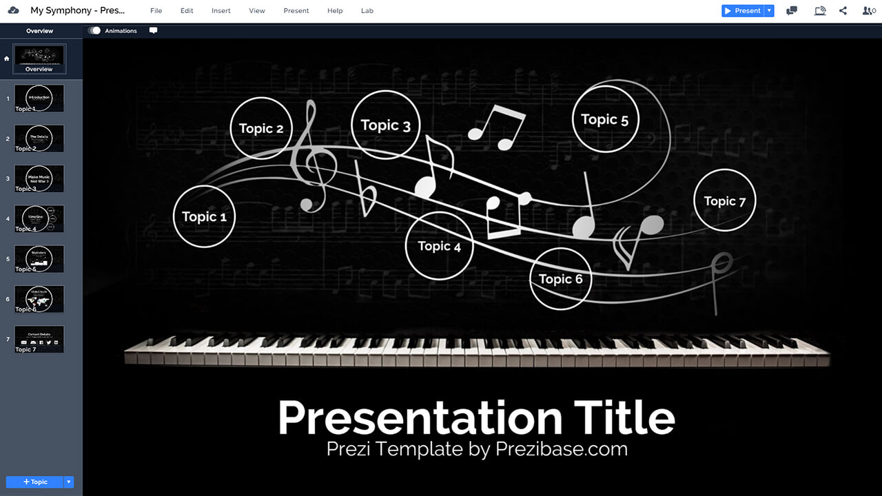 music-piano-keys-notes-fly-dark-melody-prezi-presentation-template
