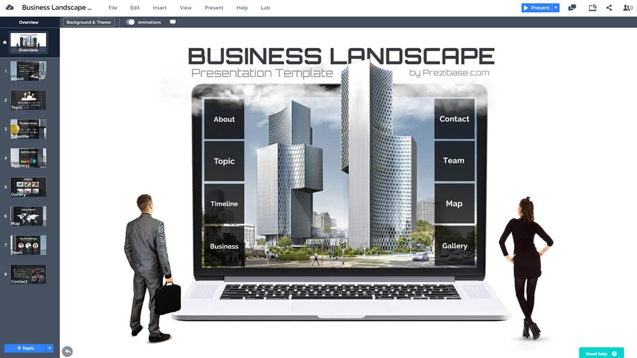 творческий бизнес-компания-3d-ноутбук бизнесмен-город-презентация-шаблон-РРТ-и-Prezi