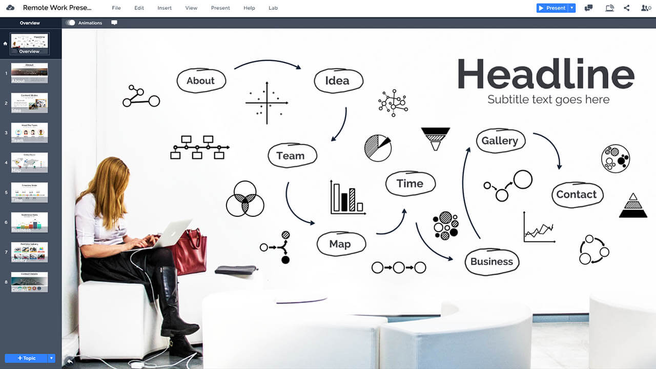 предприниматель-планировочный-эскиз-идея-дистанционная работа маркетинг-план-Prezi-презентация-шаблон