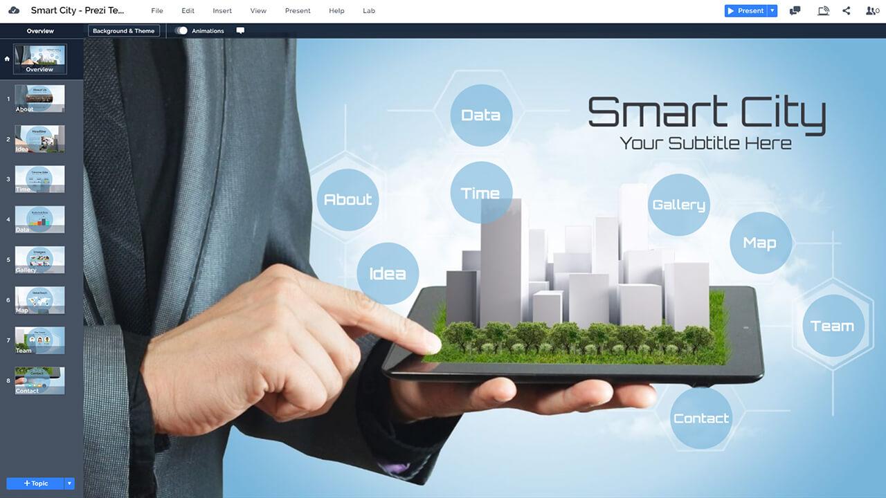 смарт-город-3d-IPAD-технологии городского планирования бизнесмен-город-в-руки-Prezi-презентация-шаблон