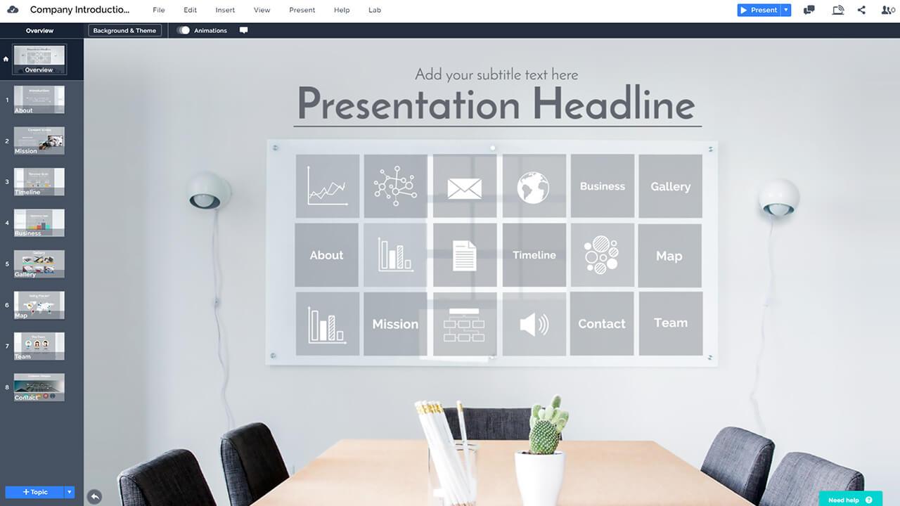 Компания бизнес-внедрение-офисно-стена-стекло-логотип-продвижение-презентация-Prezi-шаблон