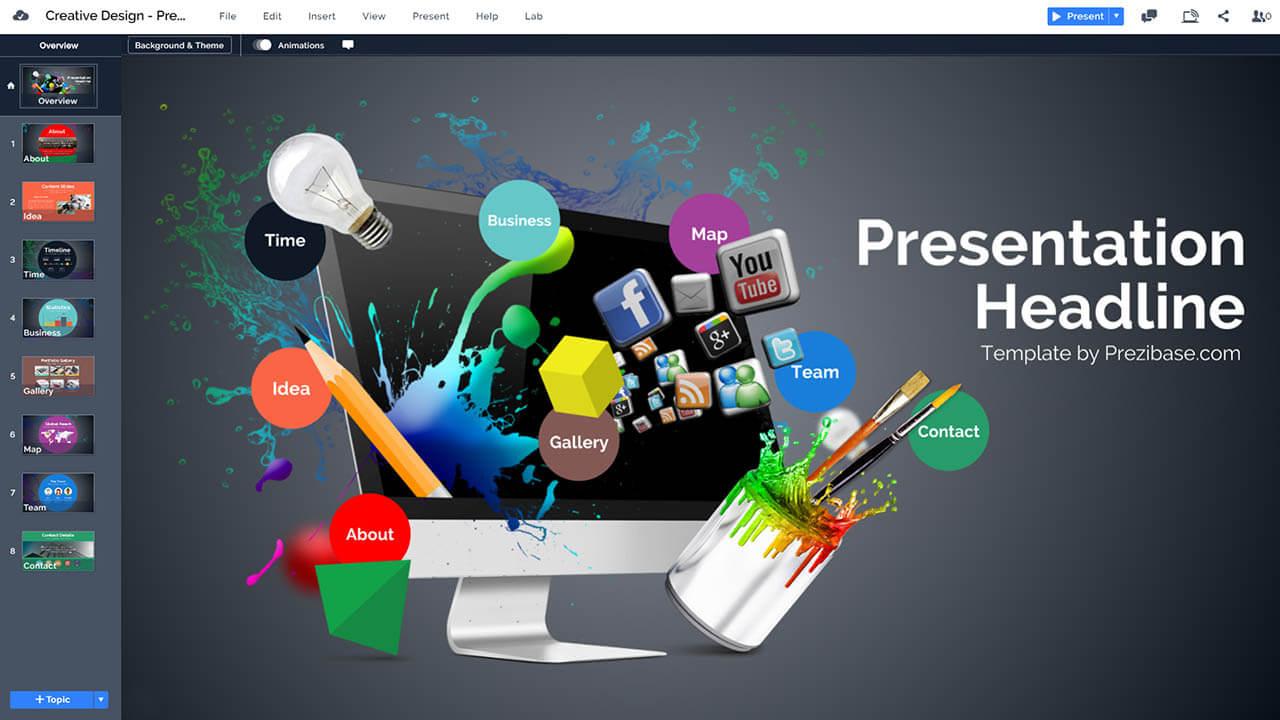 творческо-3d-веб-графический дизайн-Prezi-презентация-шаблон-мультимедиа
