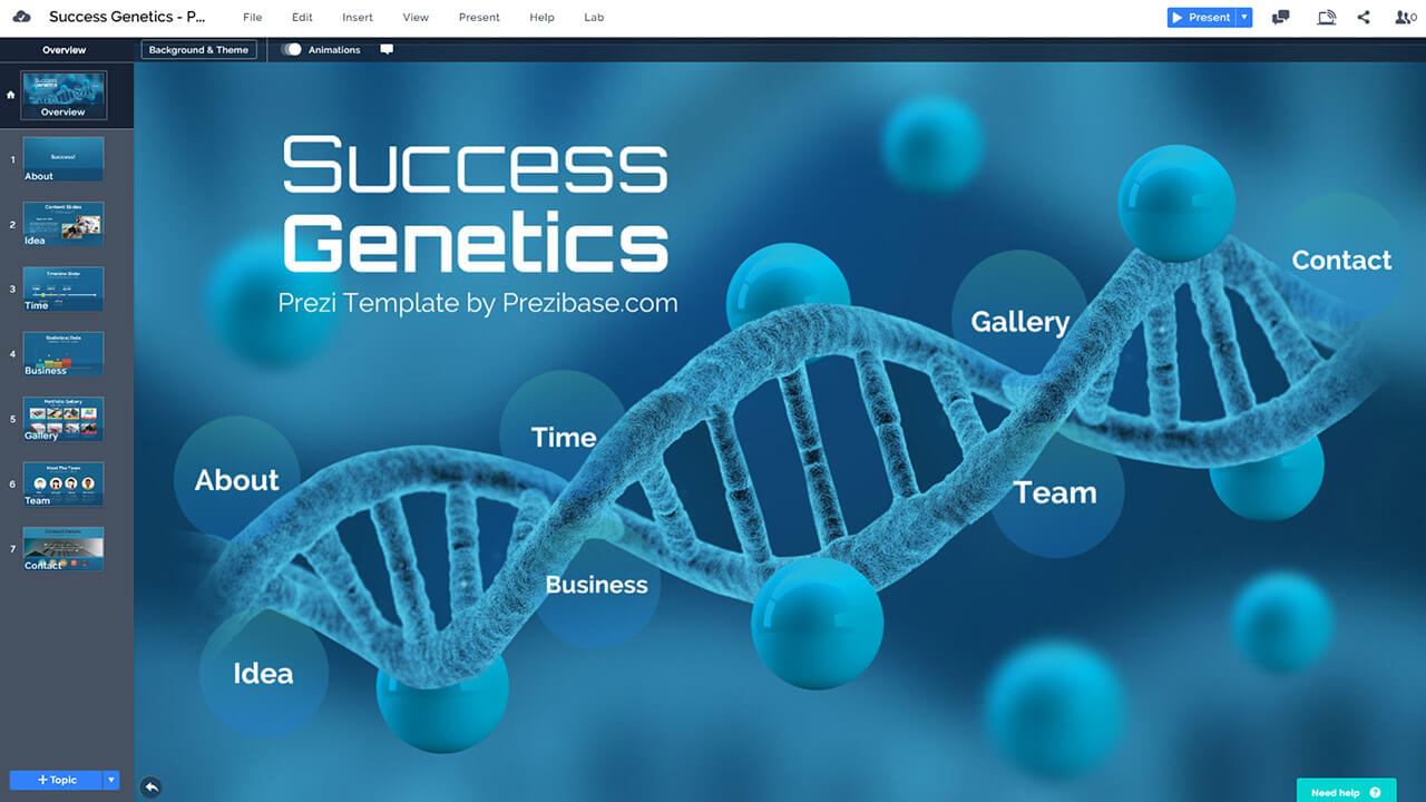success-genetics-DNA-biology-blue-business-presentation-template-for-prezi-and-powerpoint