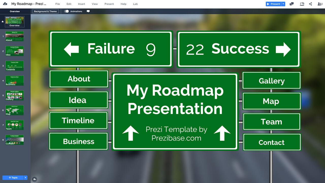 創意路線圖,道路標誌,prezi-演示模板公路