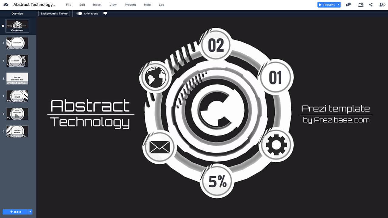 抽象技術的圓prezi-下演示模板