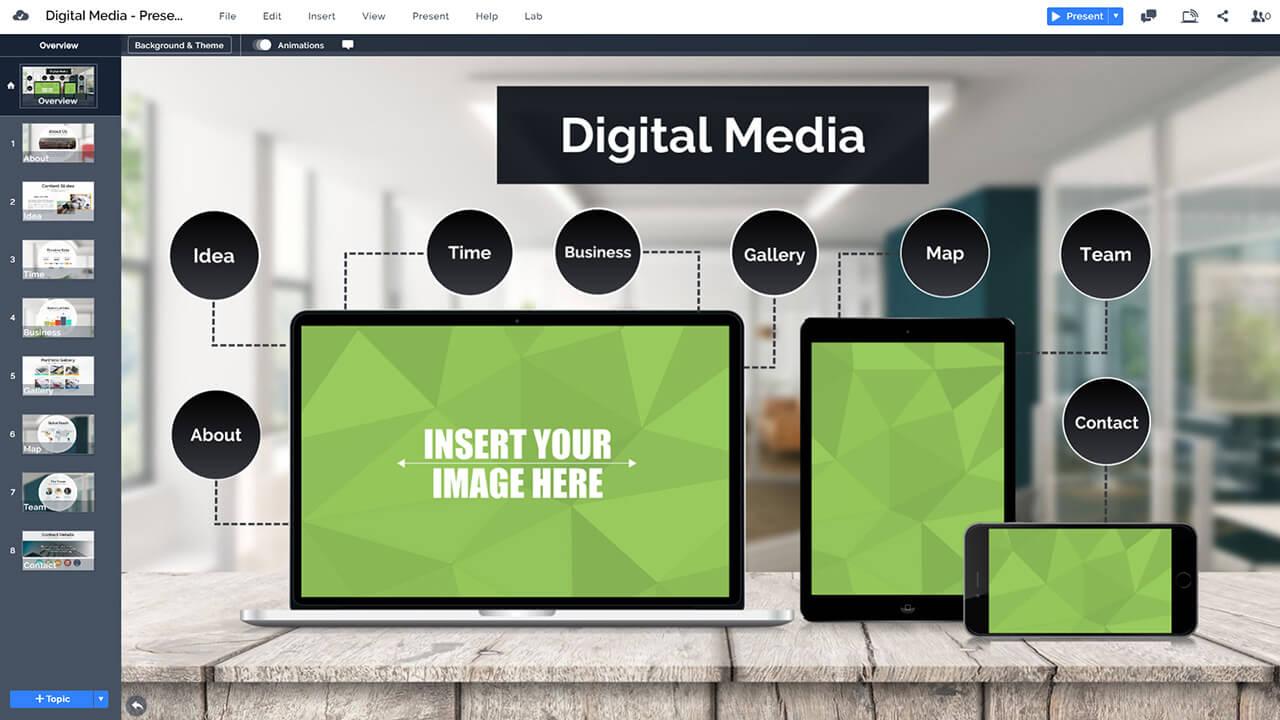 數字媒體 - 蘋果設備 - 網站推廣階段,prezi-演示模板