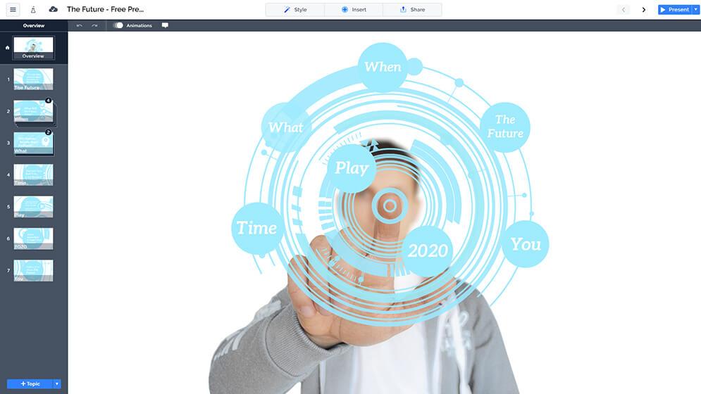 免費的3D未來的圓科技prezi-下演示模板